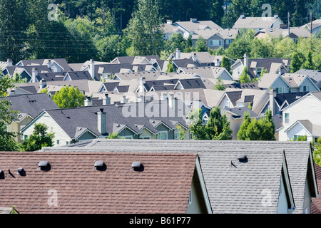 Rooftops of a housing development in the Issaquah Highlands Washington United States - Stock Photo