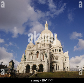 Paris, France, The Sacre Coeur (the Sacred Heart) church. The Basilica was opened in 1919after first world war.. - Stock Photo