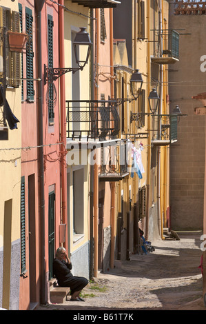 Alley in the historic city centre of Bosa, Sardinia, Italy, Europe