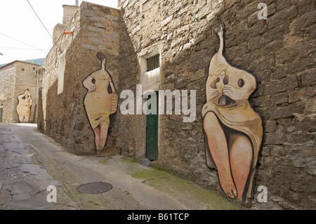 Political mural, Orgosolo, Sardinia, Italy, Europe - Stock Photo