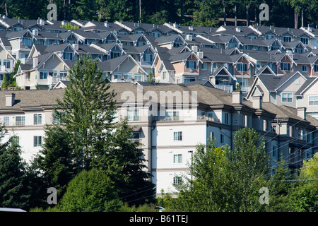 A housing development on the side of a hill in Issaquah, Washington, United States - Stock Photo