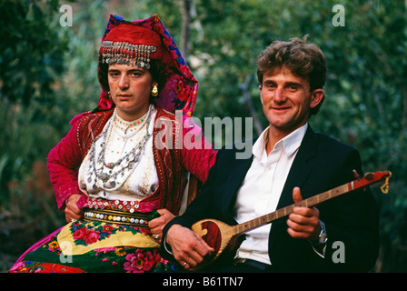 Bride and Bridegroom at wedding in Northern Albania 1992 - Stock Photo