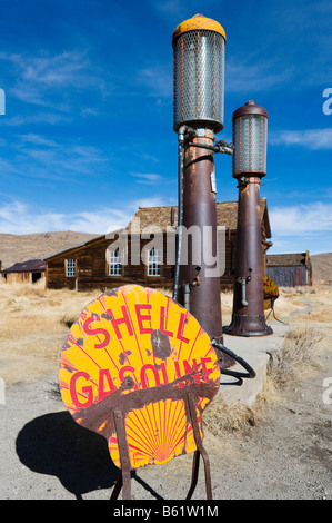Gas Pumps outside Boone Store in the gold ming ghost town of Bodie, near Bridgeport, Sierra Nevada Mountains, California, - Stock Photo