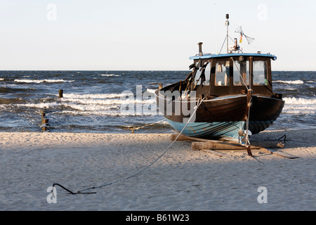 Old fishing cutter on the beach, Bansin resort, Usedom Island, Baltic Sea, Mecklenburg-Western Pomerania, Germany, - Stock Photo