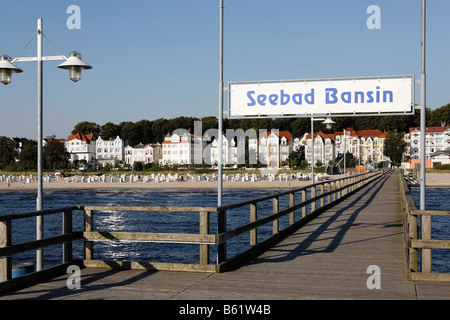 Bansin seaside resort, view from pier, Usedom Island, Baltic Sea, Mecklenburg-Western Pomerania, Germany, Europe - Stock Photo