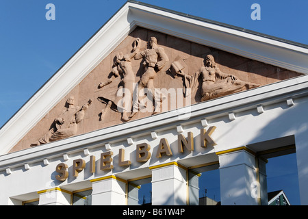 Frieze on the Heringsdorf Casino building, Usedom Island, Baltic Sea, Mecklenburg-Western Pomerania, Germany, Europe - Stock Photo