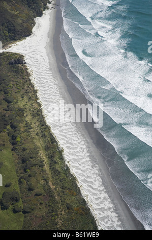 Farewell Spit and Tasman Sea Nelson Region South Island New Zealand aerial - Stock Photo
