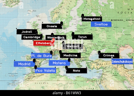 Map of Europe with the position of radio observatories, control room of the radio telescope, Max-Planck-Institute - Stock Photo
