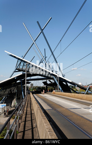 Futuristic bus and railway station building Neue Mitte Oberhausen, Ruhr Area, North Rhine-Westphalia, Germany, Europe - Stock Photo