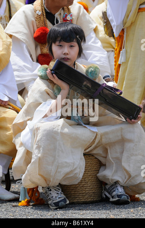 Yamabushi temple servant at the feat of the master of ceremonies, Kyoto, Japan, Asia - Stock Photo