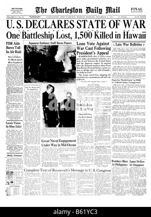 Front page of a 1941 US newspaper about the Japanese raid on Pearl Harbor - Stock Photo