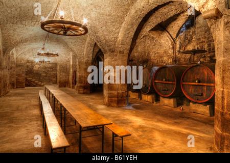 Wine cellar beneath the town hall in Hammelburg, Rhoen, Bavaria, Germany, Europe - Stock Photo