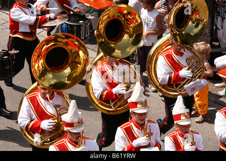 Historical parade, men playing the sousaphone, 1. German marching band the Sound of Frankfurt, Rakoczi Festival, - Stock Photo
