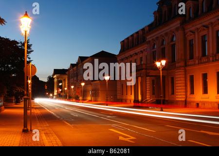 Bernhardstrasse with the Meininger Theatre, Meiningen, Rhoen, Thuringia, Gerrmany, Europe - Stock Photo