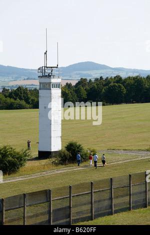 East German observation tower along the former DDR/GDR border, Point Alpha Border Museum, Rasdorf/Geisa, Rhoen, - Stock Photo