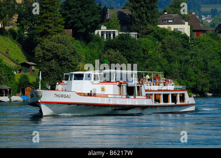 Tour ship MS-Thurgau on the Rhine River near Schaffhausen, Switzerland, Europe - Stock Photo