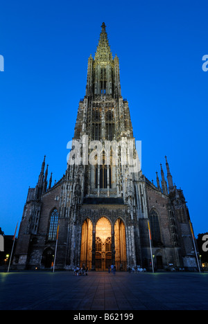 Ulm Minster, illuminated main door, Ulm, Baden-Wuerttemberg, Germany, Europe