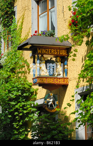 Sign of a wine tavern, Meersburg, Bodensee district, Baden-Wuerttemberg, Germany, Europe - Stock Photo