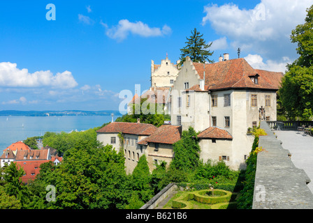 View of the the castle and the Unterstadt from the terrace of the Neues Schloss Castle, Meersburg, Bodensee district, - Stock Photo