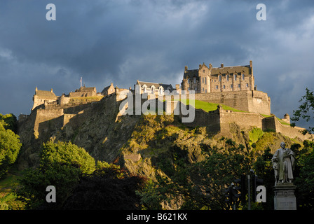 Edinburgh Castle in the evening light, Edinburgh, Scotland, Great Britain, Europe - Stock Photo