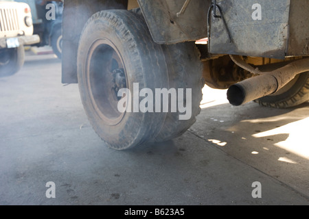 Exhaust pipe, car fumes at a petrol station, Cuba, the Caribbean, America - Stock Photo