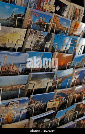 Postcard stand, Venice, Italy, Europe - Stock Photo