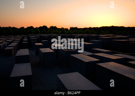Concrete blocks of the Holocaust Memorial at dusk, Berlin, Germany, Europe - Stock Photo