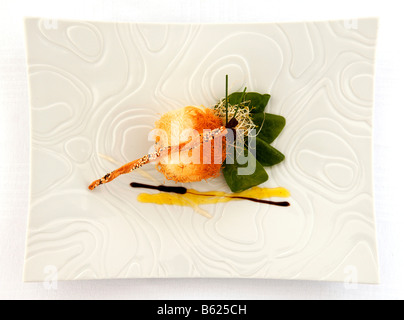 Crispy baby spinach and river crab, food, haute cuisine - Stock Photo
