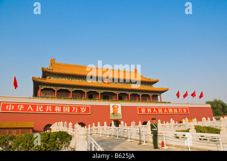 The Heavenly Peace gate entrance of the Forbidden city Beijing China - Stock Photo