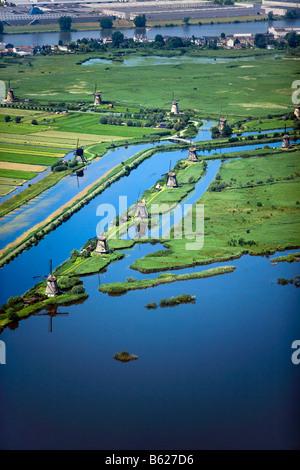 Netherlands Zuid Holland Kinderdijk Windmills in polder Unesco World Heritage Site Aerial - Stock Photo