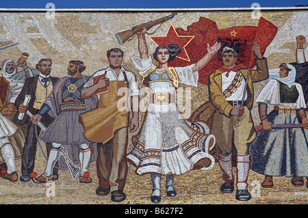 National Museum of History, with the Albanian Victorious History mosaic facade, Tirana, Albania 1992 - Stock Photo