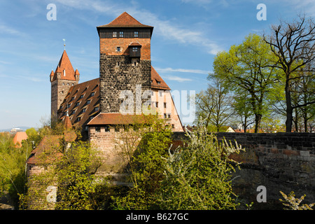 Nuremberg Castle, former stables, today used as youth hostel, historic city centre, Nuremberg, Middle Franconia, - Stock Photo