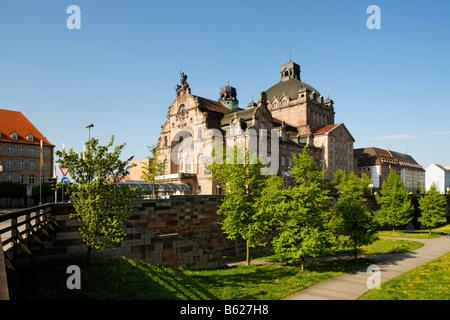 Opera House, State Theatre, art nouveau, castle moat, Nuremberg, Franconia, Bavaria, Germany, Europe - Stock Photo
