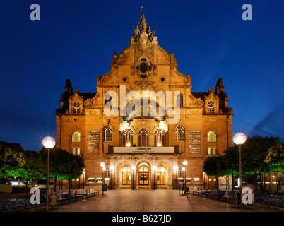 Illuminated Opera House, State Theatre, art nouveau, Nuremberg, Middle Franconia, Bavaria, Germany, Europe - Stock Photo