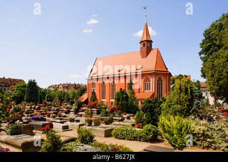 Church in the Johannis graveyard, St. Johannis area, Nuremberg, Middle Franconia, Bavaria, Germany, Europe - Stock Photo