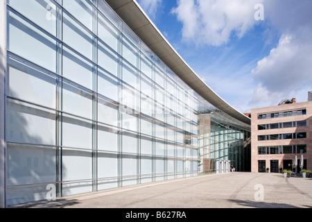 Glass facade, Neues Museum, New Museum, state museum for art and design, Klarissenplatz Square, historic city centre, - Stock Photo