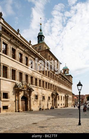 Town hall, Wolffscher Bau Building, entrance, historic city centre, Nuremberg, Middle Franconia, Bavaria, Germany, - Stock Photo