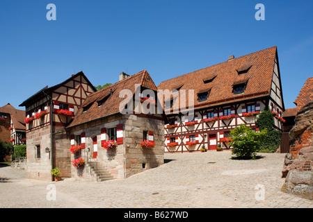 Nuremberg Castle or Kaiserburg, fore-court, half-timbered houses, Nuremberg, Middle Franconia, Bavaria, Germany, - Stock Photo