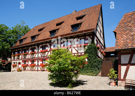 Nuremberg Castle or Kaiserburg, fore-court, half-timbered houses, fortress administration, Nuremberg, Middle Franconia, - Stock Photo