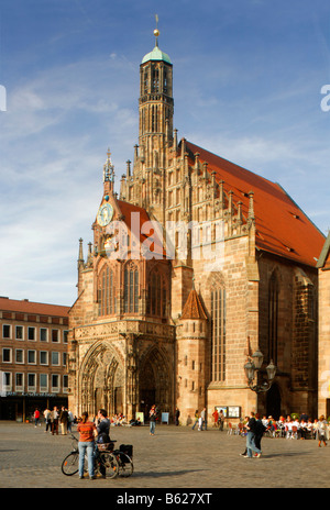 Frauenkirche Church, main market, historic city centre, Nuremberg, Middle Franconia, Bavaria, Germany, Europe - Stock Photo