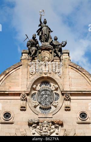 State theatre, opera, gable, art nouveau, Nuremberg, Middle Franconia, Bavaria, Germany, Europe - Stock Photo