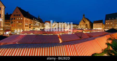 Panorama, christmas market, Frauenkirche Church, main market, historic city centre, Nuremberg, Middle Franconia, - Stock Photo