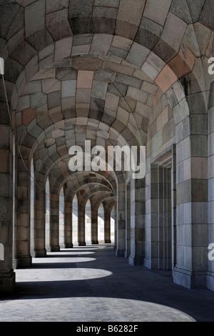 Congress hall, incomplete, arcade, architect Albert Speer, Grosser Dutzendteich, Nazi party rally grounds, Nuremberg, - Stock Photo