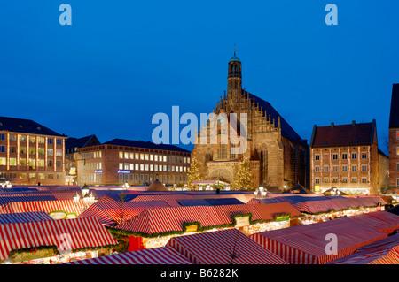 Christmas market, Frauenkirche Church, main market, historic city centre, Nuremberg, Middle Franconia, Bavaria, - Stock Photo