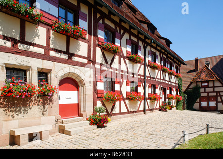 Nuremberg Castle or Kaiserburg, fore-court, half-timbered houses, fortress administration, Finanzstadl, Nuremberg, - Stock Photo