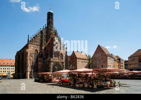 Main market, Frauenkirche Church, market, historic city centre, Nuremberg, Middle Franconia, Bavaria, Germany, Europe - Stock Photo
