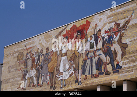 National Museum of History, with the Albanian Victorious History mosaic facade, Tirana, Albania, 1992 - Stock Photo