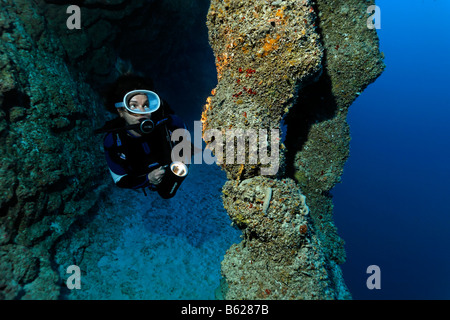 Female diver with a lamp looking at stalctites and stalgmites that have joined together at a depth of 45m in the - Stock Photo