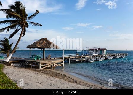 Boat jetty, Turneffe Flats, Turneffe Atoll, Belize, Central America, Caribbean - Stock Photo