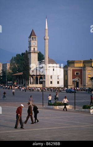 Et'hem Bay Mosque in Skanderbeg Square/ Sheshi Skenderbej, Tirana, Albania 1992 - Stock Photo